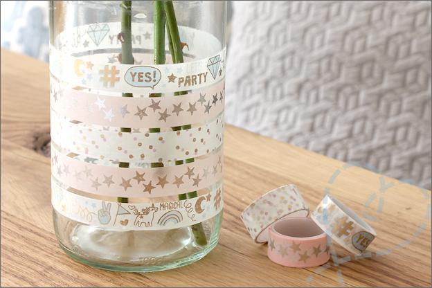 DIY Washi tape bloemen vaas budget