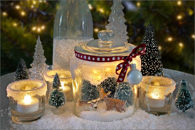 DIY kerstdecoratie zelf maken schaal hert sneeuw
