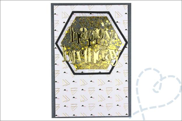 Kaarten maken schudkaart goud glitter