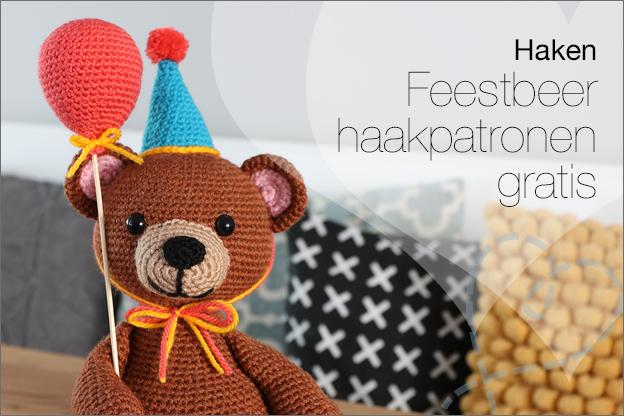Haken feestbeer beer gratis haakpatroon feesthoed ballon