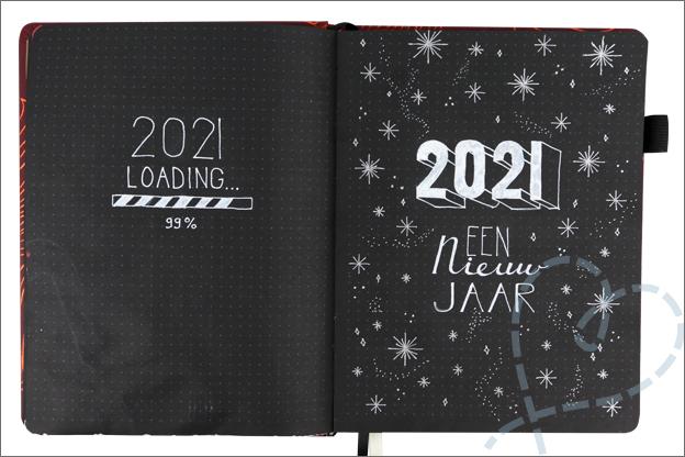 Bullet journal cover jaar 2021 loading sterretjes