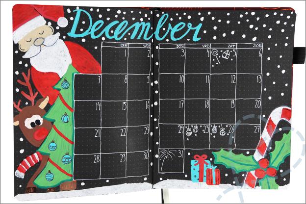 Bullet journal maand december kerst tekenen paintmarkers