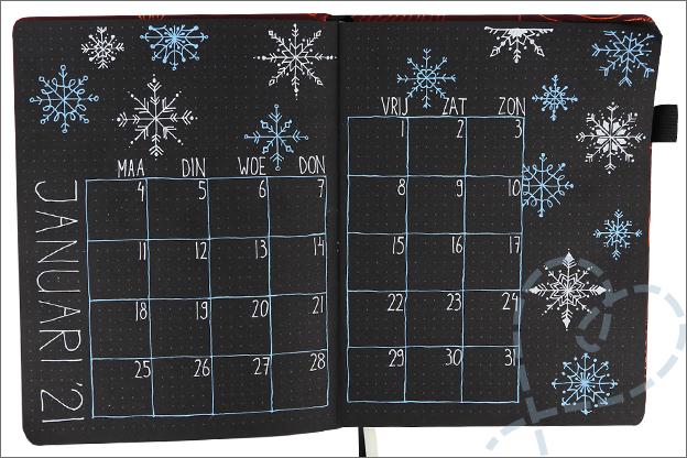 Bullet journal maand januari thema winter sneeuw sneeuwvlokken