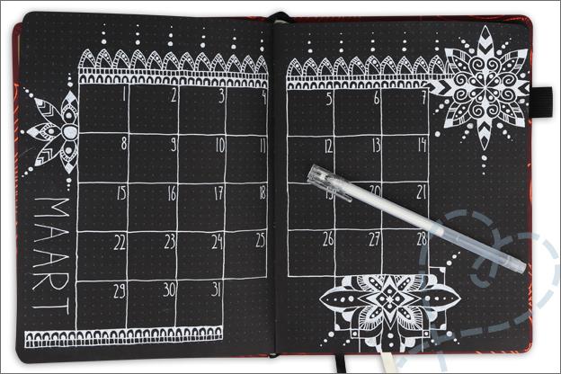 bullet journal maand maart thema mandala