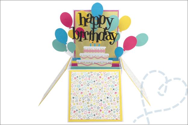 Kaart maken in doos verjaardagskaart inspiratie
