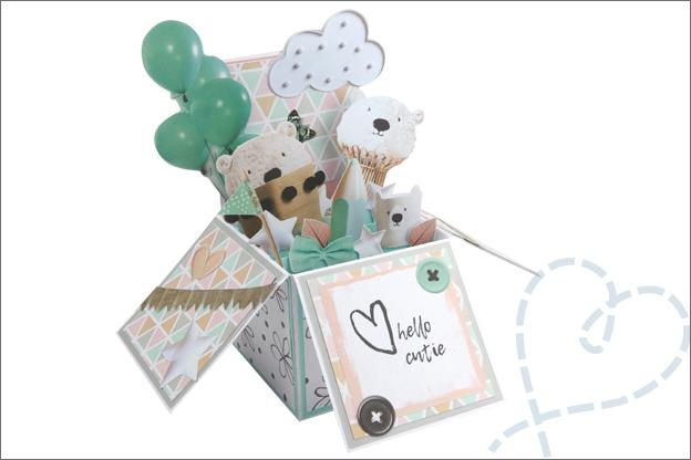 Kaart maken in doos voor geboorte