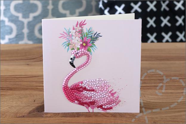Diamond painting kaart flamingo