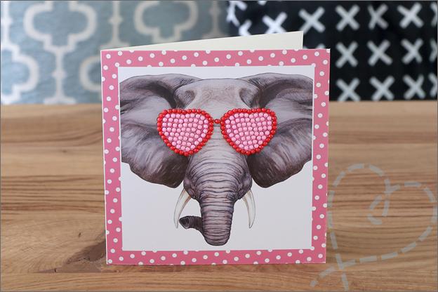 Diamond painting kaart olifant
