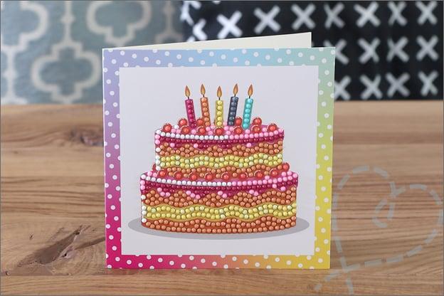Diamond painting kaarten action gefeliciteerd taart