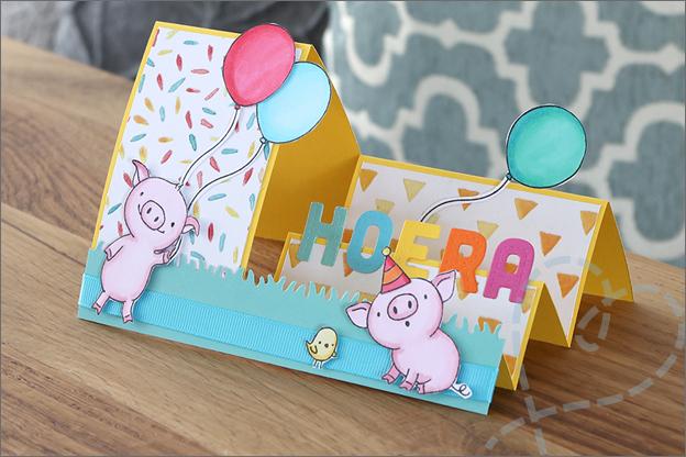 Trapjeskaart verjaardag stempels feest uitleg