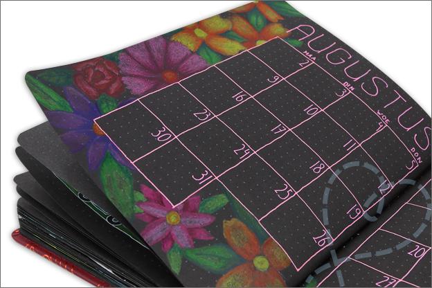 black journal bloemen teken kleurpotloden inspiratie