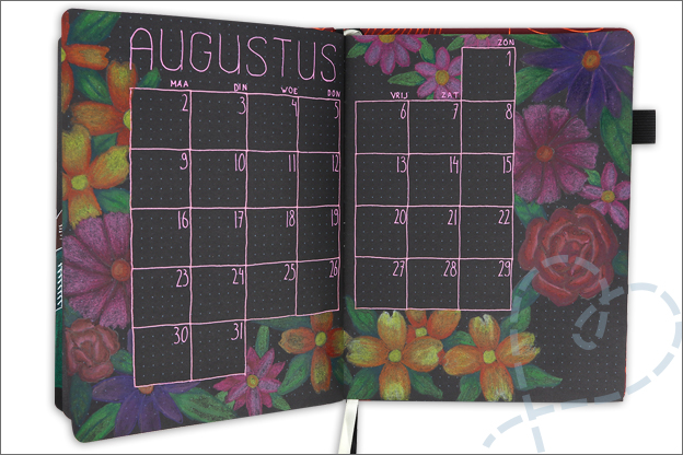 black journal inspiratie ideeen augustus bloemen tekenen