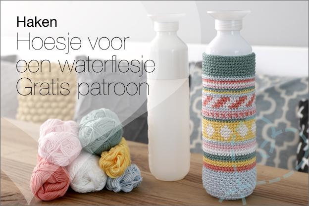 Haken gratis haakpatroon hoesje waterfles flesje