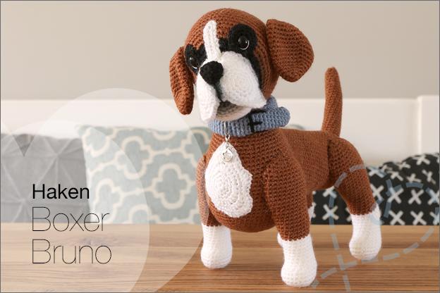 Haken hond Boxer Bruno haakpatroon MyKrissieDolls