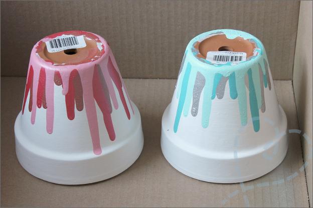 DIY drip bloempotjes taart verf action