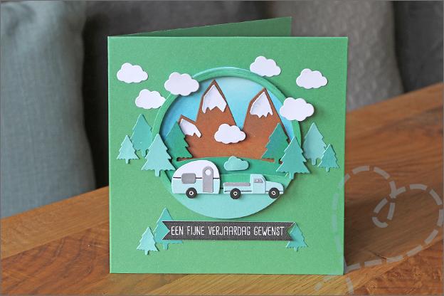 3d scene snijmallen action caravan bergen bomen auto