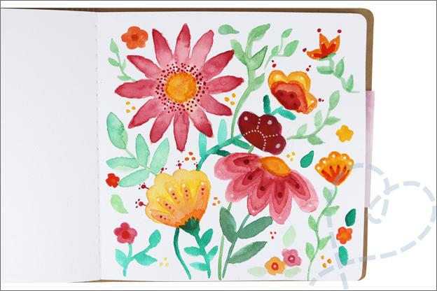 Action art journal aquarel bloemen