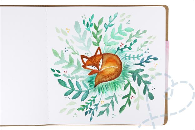 Action art journal aquarelverf vos planten