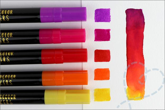 Action liquid watercolor Brushmarkers mengen blenden