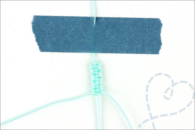 Armband maken 2 macrame knoop