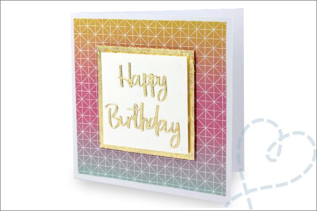 Kaarten folievlokken folie goud happy birthday
