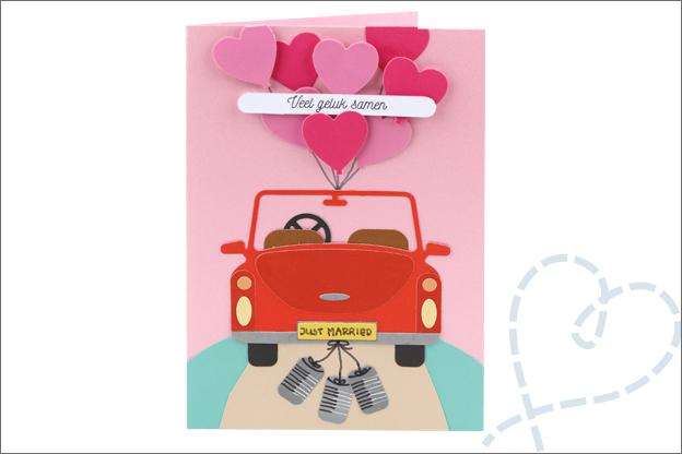 Kaarten snijmallen action trouwen auto hartjes