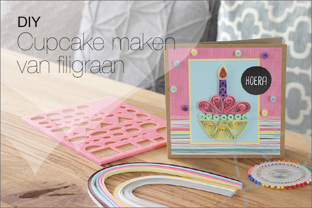 Knutselen DIY filigraan cupcake Action uitleg