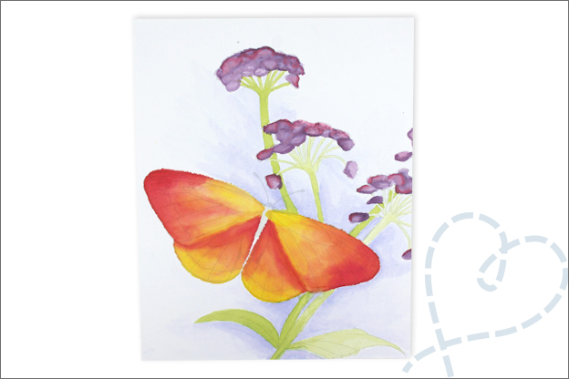 Review Action aquarel bloemen vlinder