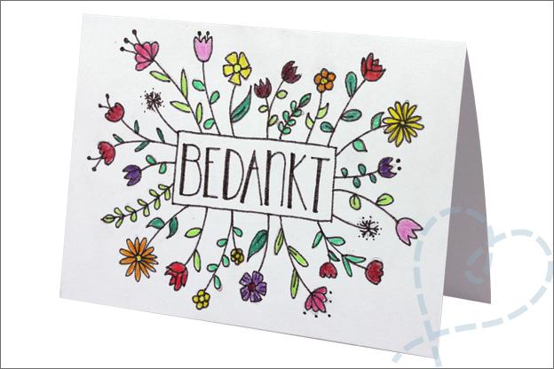handletteren kaart bedankt tekenen bloemen