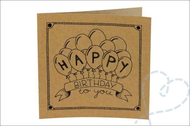 handletteren kaart happy birthday ballonnen tekenen