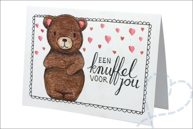 kaart handletteren dikke knuffel tekenen beer