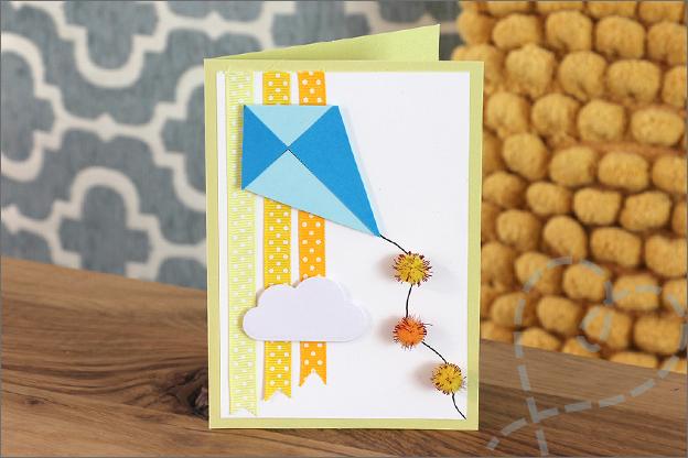 kaarten maken met lintjes pompons