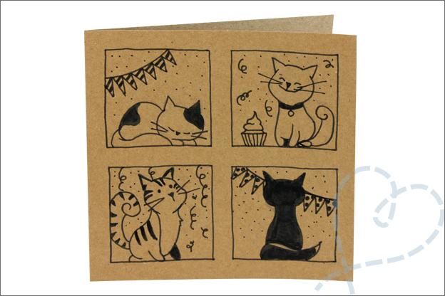 zelf kaarten maken tekenen katten