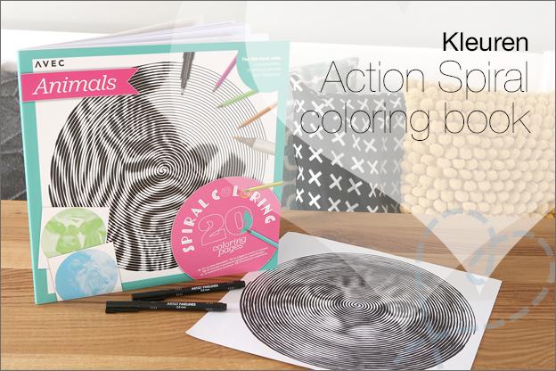 Action Spiral coloring book kleuren voor volwassenen