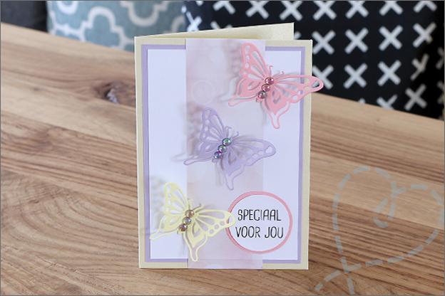 kaarten maken met steentjes vlinder