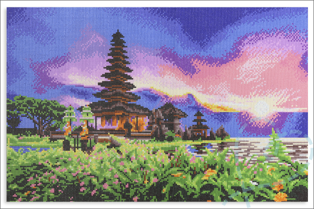 Action Diamond painting 40x60cm groot eindresultaat landschap