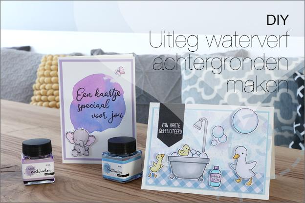 kaarten maken liquid watercolor Action vloeibare waterverf uitleg